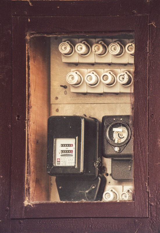 vintage, electricity, voltage, security, device, old, retro, box, wood, industry