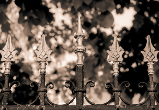 cast iron, aluminum, fence, iron, arrowhead, gothic, sepia, monochrome, art, old