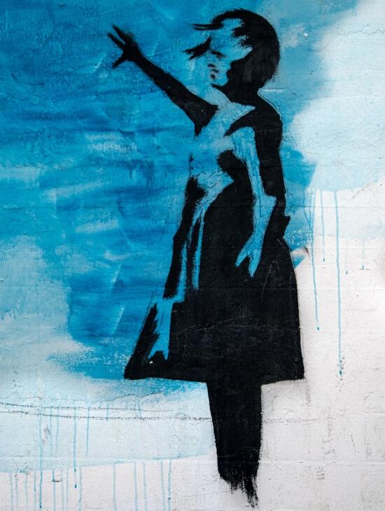 free living, free style, person, silhouette, graffiti, art, artistic, street, woman, retro