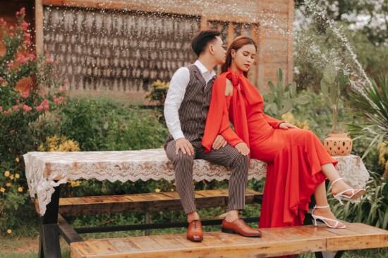 girlfriend, Asian, boyfriend, wife, groom, husband, bride, wedding dress, red, tuxedo suit