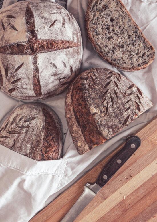 хлеб, цельнозерновой хлеб, нож, ломтики, Кора, вкусный, аромат, жаркое, питание, муки
