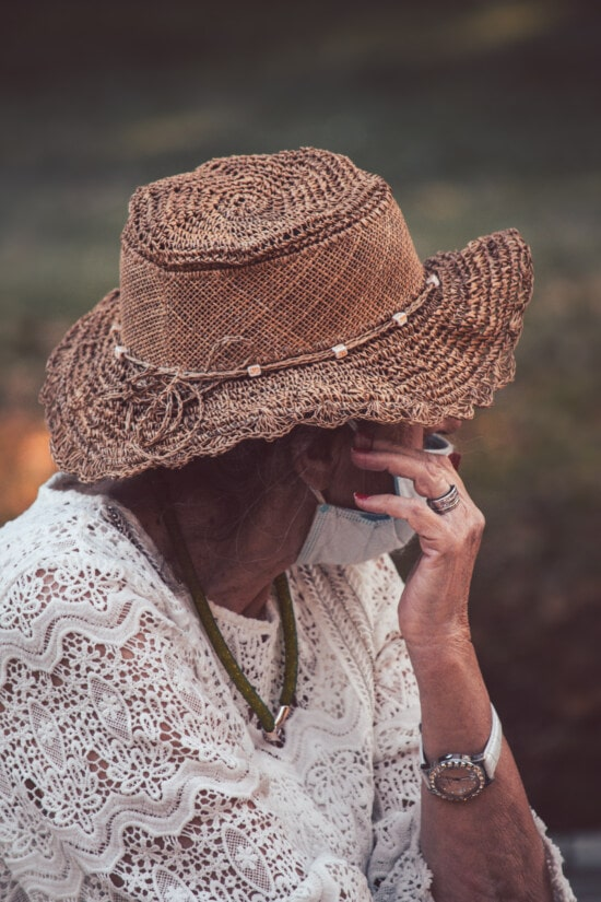 hat, old fashioned, face mask, social distance, granny, people, clothing, woman, elderly, portrait