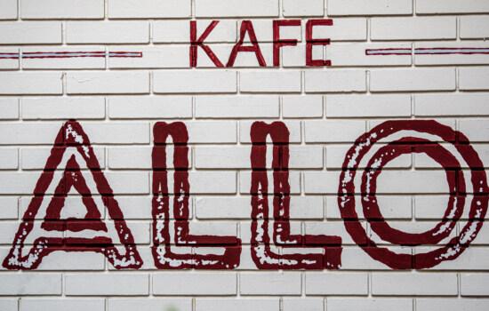 cafeteria Allo, symbol, graffiti, sign, wall, bricks, vintage, urban, design, illustration