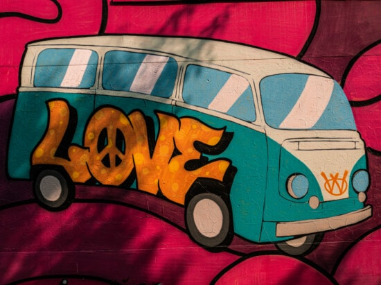 graffiti, love, text, camper, minivan, colorful, vehicle, free living, coloration, free style