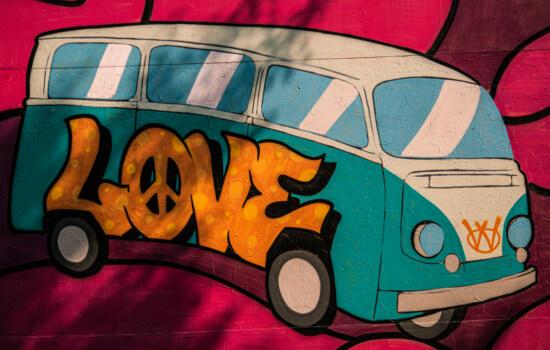 love, graffiti, minivan, car, camper, art, illustration, color, retro, design