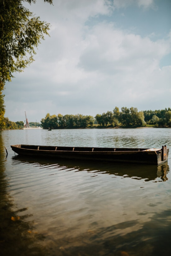 wooden, boat, riverbank, river, river boat, channel, water, nature, reflection, summer