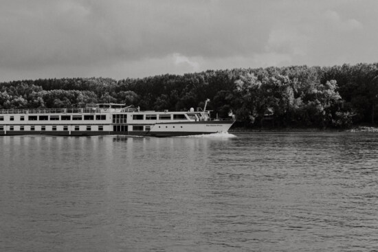 cruise ship, monochrome, black and white, ship, tourist attraction, travel, river, vehicle, water, shore