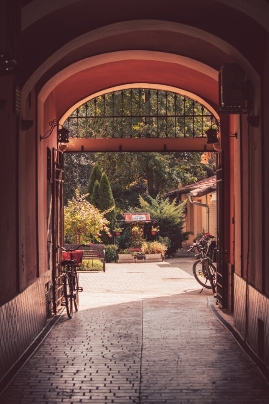 doorway, backyard, architecture, pavement, entrance, alley, gate, light, home, arch