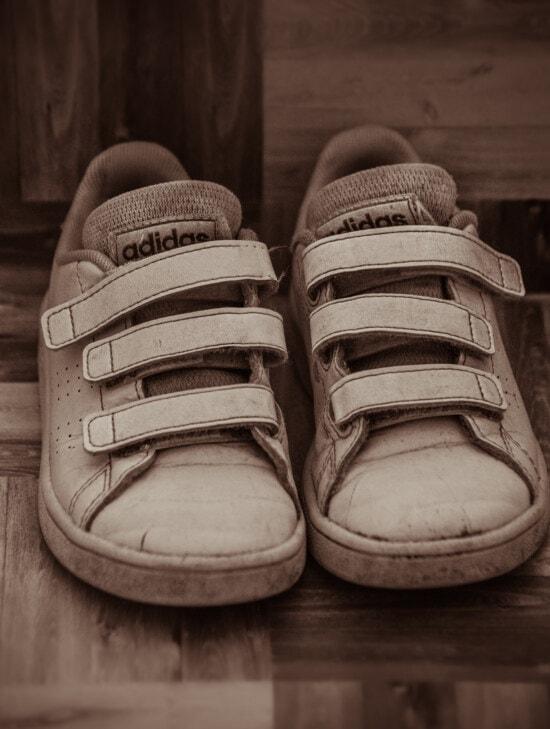 классик, белый, марочный, Адидас, кожа, кроссовки, старомодный, старый стиль, монохромный, моды
