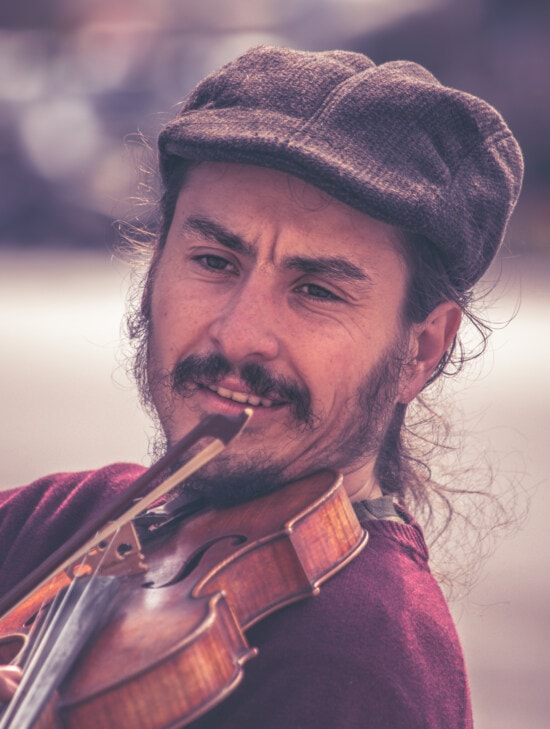 close-up, man, portrait, mustache, beard, violin, musician, hat, people, music