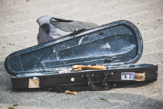 violin, baggage, luggage, old, retro, road, dirty, object, backpack, old fashioned