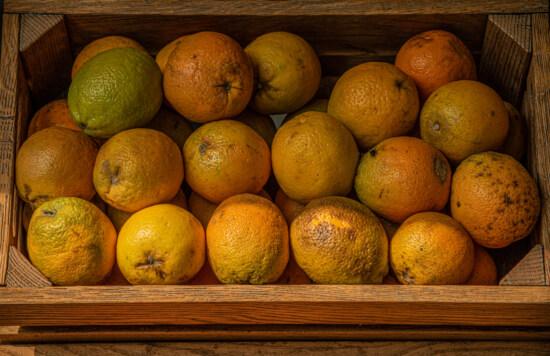 organic, oranges, orange peel, wooden, box, fresh, citrus, food, diet, vitamin