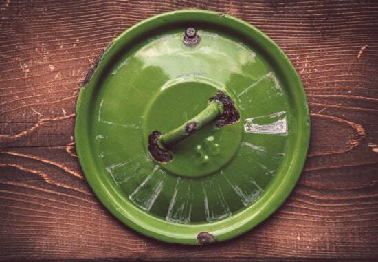 groen, metaal, oude, wijnoogst, roest, houten, planken, hout, staal, voorwerp