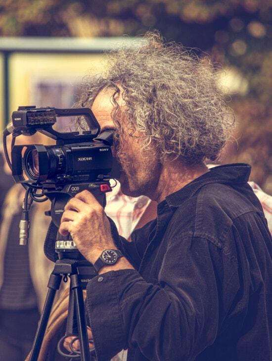 camcorder, video-opname, opname, film, fotograaf, televisie, apparatuur, lens, portret, journalist