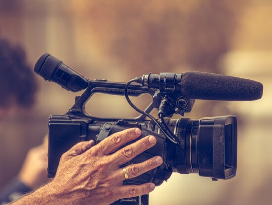 camcorder, video-opname, video, apparatuur, televisie, professionele, apparaat, microfoon, lens, technologie