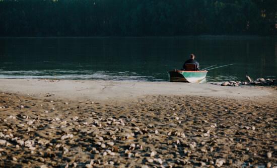 atmosphere, calm, fisherman, fishing boat, riverbank, river, coast, sandbar, beach, water