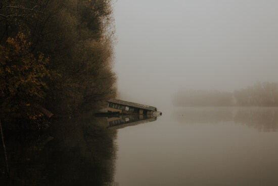 abandoned, boathouse, flood, fog, calm, water level, atmosphere, water, mist, dawn