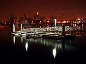 docks, bateaux, nuit, horizon