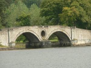gammal, bro, sjön