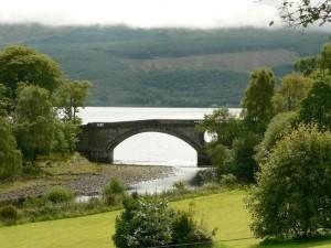 old, bridge, green, field, front
