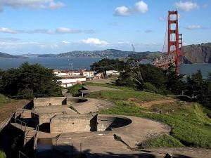 presidio, gun, turrets, golden, gate, bridge