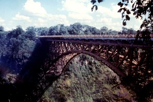 railway, bridge, leading, Rhodesia, Zambia, overlooking, Zambezi, river, Victoria, falls