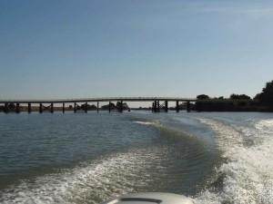 beldens, pristátie, most, montezuma, slough, člny, popredia