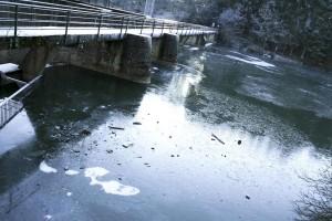 eau, réflexion, pont
