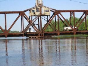vit, floden, järnväg, bro