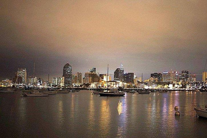 nuit, San Diego, voiliers, ligne d'horizon