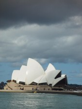 sydney, opéra, maison, lumière du soleil, soutenu, nuage