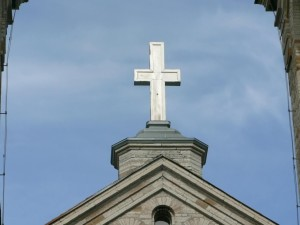 église, croix, top