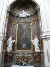 church, interior, statues
