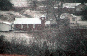 country, church, snowstorm