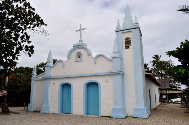 pretty, little, light, blue, church