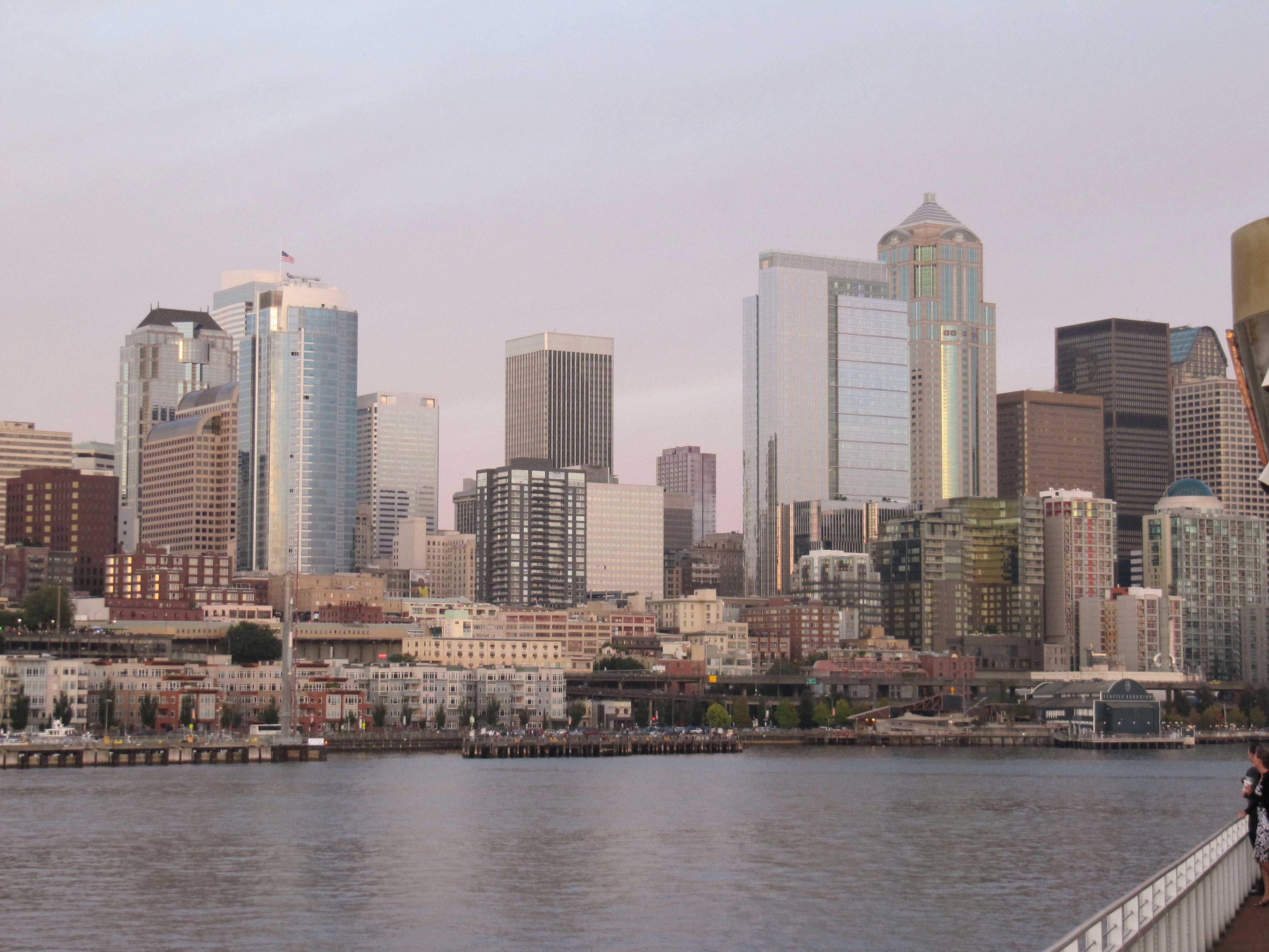 Free photograph; big, modern, buildings, Seattle