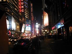 néon, signes, les bâtiments, occupé, trafic, nuit