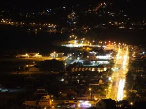 nuit, autoroute, ville, lumières