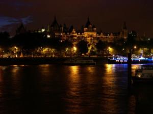 Temže, v noci, centrální, Londýn