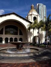 amtrak, station, fountain, downtown, San Diego