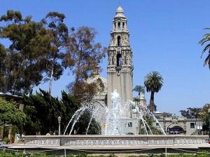 Balboa park towers, fák, szökőkutak, ég