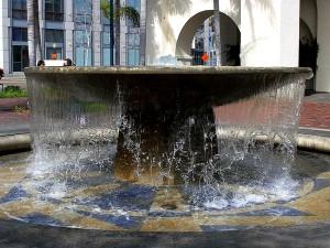 fontaine, chariot, gare, centre-ville, San Diego