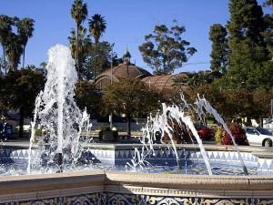 szökőkút, park, San Diego
