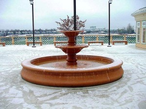 fountain, snow, Portland