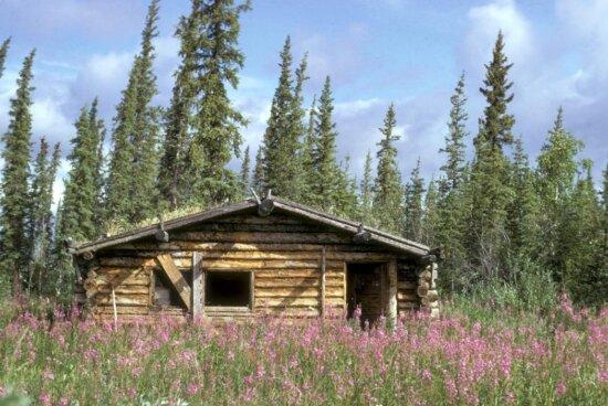 canyon, village, log, cabin