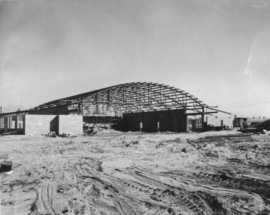 construction, hangar, lake, hood