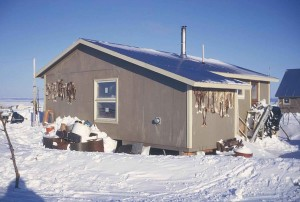 house, winter, caribou, leg, skins, drying, building