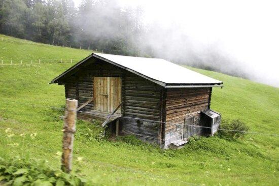 antigo, de madeira, casa, campo