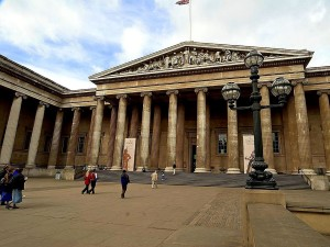 front, entrance, British, museum, London, England
