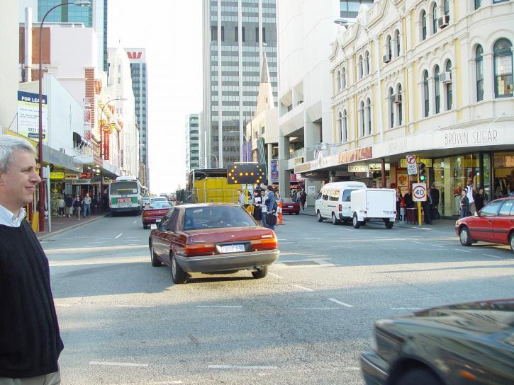 downtown, perth, traffic, construction, mandurah, railway, line